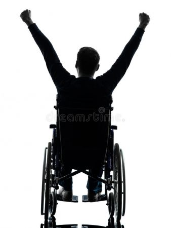 rear-view-handicapped-man-arms-raised-wheelchair-silhouette-one-studio-white-background-33881361